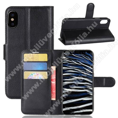 WALLET notesz tok / flip tok - FEKETE - asztali tartó funkciós, oldalra nyíló, rejtett mágneses záródás, bankkártyatartó zseb, szilikon belső - APPLE iPhone X / APPLE iPhone XS