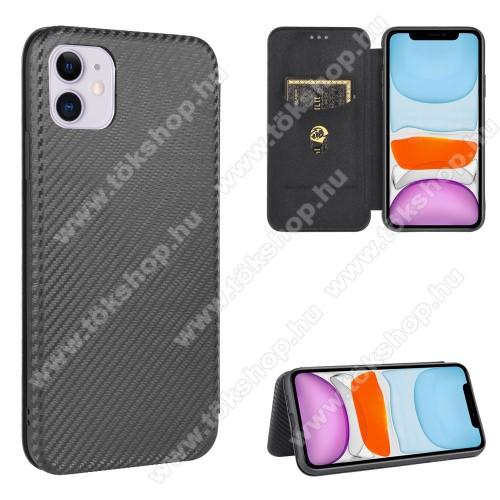 WALLET notesz tok / flip tok - FEKETE - KARBON MINTÁS - asztali tartó funkciós, oldalra nyíló, rejtett mágneses záródás, bankkártyatartó zseb, szilikon belső - APPLE iPhone 12 mini
