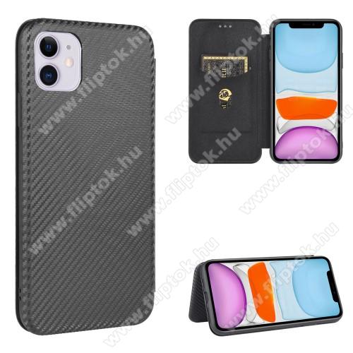 WALLET notesz tok / flip tok - FEKETE - KARBON MINTÁS - asztali tartó funkciós, oldalra nyíló, rejtett mágneses záródás, bankkártyatartó zseb, szilikon belső - APPLE iPhone 12 / APPLE iPhone 12 Pro