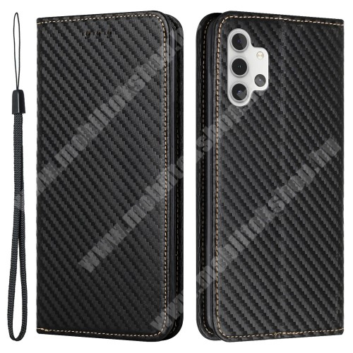 WALLET notesz tok / flip tok - FEKETE - KARBON MINTÁS - asztali tartó funkciós, oldalra nyíló, rejtett mágneses záródás, bankkártyatartó zseb, szilikon belső - SAMSUNG Galaxy A32 5G (SM-A326B) / Galaxy M32 5G (SM-M326B/DS)