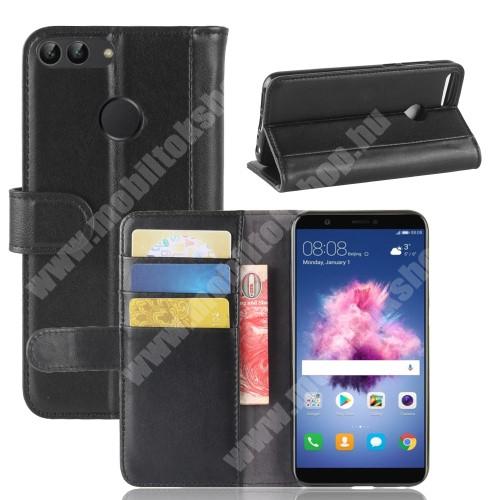 WALLET notesz tok / flip tok - FEKETE - valódi bőr, asztali tartó funkciós, oldalra nyíló, rejtett mágneses záródás, bankkártya tartó zsebekkel, szilikon belső - HUAWEI P Smart / HUAWEI Enjoy 7S