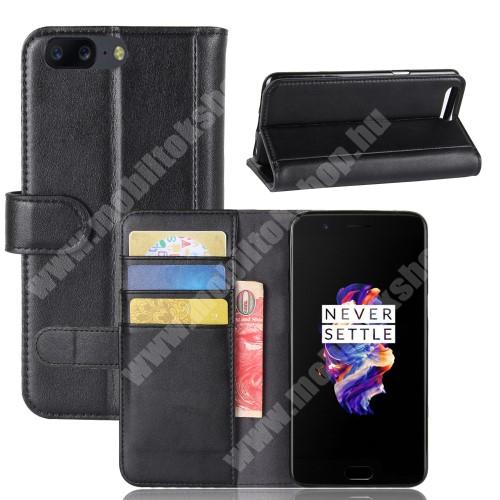 WALLET notesz tok / flip tok - FEKETE - valódi bőr, asztali tartó funkciós, oldalra nyíló, rejtett mágneses záródás, bankkártya tartó zsebekkel, szilikon belső - OnePlus 5