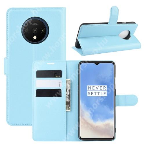 WALLET notesz tok / flip tok - KÉK - asztali tartó funkciós, oldalra nyíló, rejtett mágneses záródás, bankkártyatartó zseb, szilikon belső - OnePlus 7T