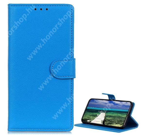 WALLET notesz tok / flip tok - KÉK - asztali tartó funkciós, oldalra nyíló, rejtett mágneses záródás, bankkártyatartó zseb, szilikon belső - SAMSUNG Galaxy A22 5G (SM-A226)