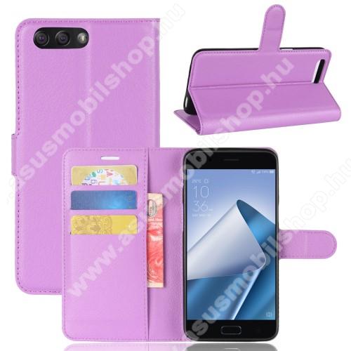 WALLET notesz tok / flip tok - LILA - asztali tartó funkciós, oldalra nyíló, rejtett mágneses záródás, bankkártyatartó zseb, szilikon belső - ASUS Zenfone 4 (ZE554KL)