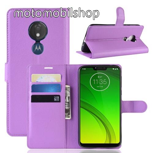 Wallet notesz tok / flip tok - LILA - asztali tartó funkciós, oldalra nyíló, rejtett mágneses záródás, bankkártyatartó zseb, szilikon belső - MOTOROLA Moto G7 Power