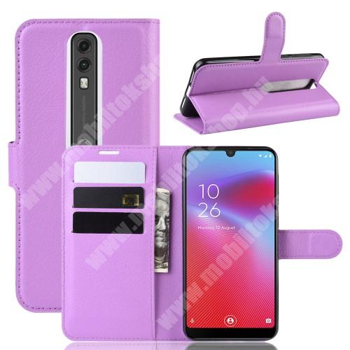 WALLET notesz tok / flip tok - LILA - asztali tartó funkciós, oldalra nyíló, rejtett mágneses záródás, bankkártyatartó zseb, szilikon belső - Vodafone Smart V10