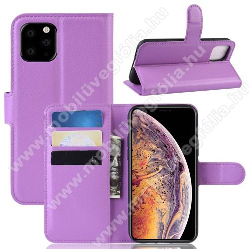 WALLET notesz tok / flip tok - LILA - asztali tartó funkciós, oldalra nyíló, rejtett mágneses záródás, bankkártyatartó zseb, szilikon belső - APPLE iPhone 11 Pro Max