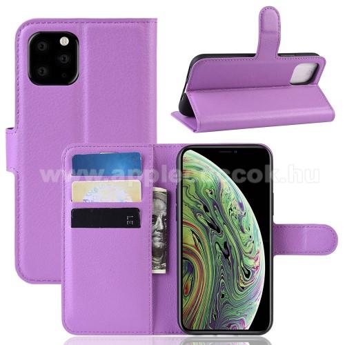 WALLET notesz tok / flip tok - LILA - asztali tartó funkciós, oldalra nyíló, rejtett mágneses záródás, bankkártyatartó zseb, szilikon belső - APPLE iPhone 11 Pro