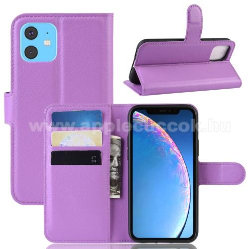WALLET notesz tok / flip tok - LILA - asztali tartó funkciós, oldalra nyíló, rejtett mágneses záródás, bankkártyatartó zseb, szilikon belső - APPLE iPhone 11