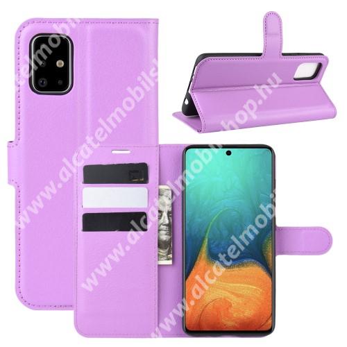 WALLET notesz tok / flip tok - LILA - asztali tartó funkciós, oldalra nyíló, rejtett mágneses záródás, bankkártyatartó zseb, szilikon belső - SAMSUNG Galaxy A71 (SM-A715F)