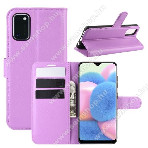 WALLET notesz tok / flip tok - LILA - asztali tartó funkciós, oldalra nyíló, rejtett mágneses záródás, bankkártyatartó zseb, szilikon belső - SAMSUNG Galaxy A41 (SM-A415F)
