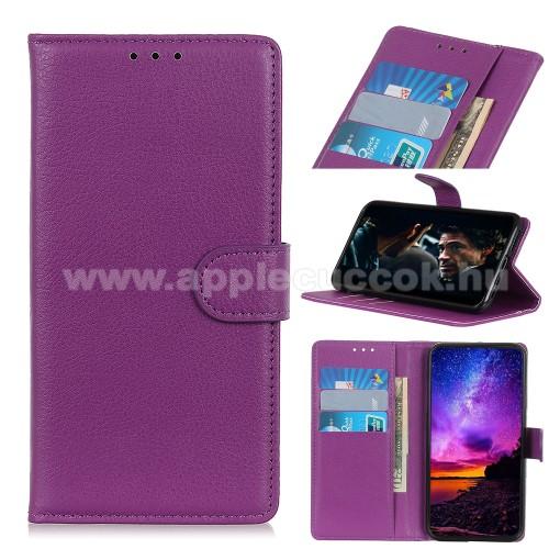 WALLET notesz tok / flip tok - LILA - asztali tartó funkciós, oldalra nyíló, rejtett mágneses záródás, bankkártyatartó zseb, szilikon belső - APPLE iPhone 12 mini