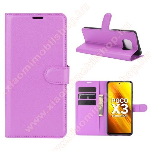 WALLET notesz tok / flip tok - LILA - asztali tartó funkciós, oldalra nyíló, rejtett mágneses záródás, bankkártyatartó zseb, szilikon belső - Xiaomi Poco X3 / Poco X3 NFC