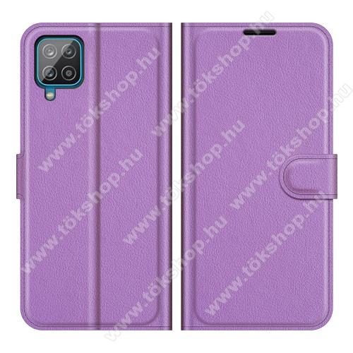 WALLET notesz tok / flip tok - LILA - asztali tartó funkciós, oldalra nyíló, rejtett mágneses záródás, bankkártyatartó zseb, szilikon belső - SAMSUNG Galaxy A22 (SM-A225F)