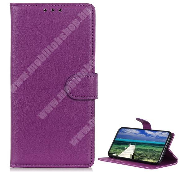 WALLET notesz tok / flip tok - LILA - asztali tartó funkciós, oldalra nyíló, rejtett mágneses záródás, bankkártyatartó zseb, szilikon belső - SAMSUNG Galaxy A22 4G (SM-A225F)