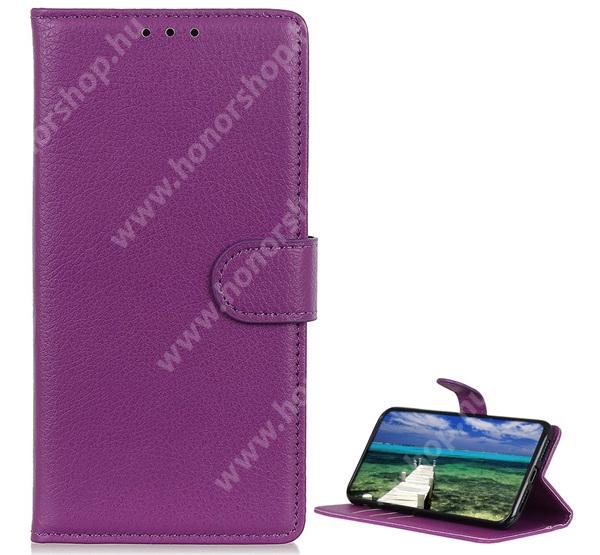 WALLET notesz tok / flip tok - LILA - asztali tartó funkciós, oldalra nyíló, rejtett mágneses záródás, bankkártyatartó zseb, szilikon belső - SAMSUNG Galaxy A22 5G (SM-A226)