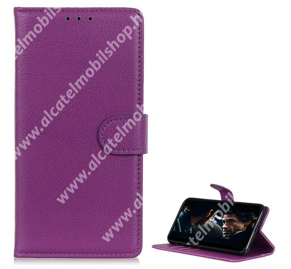 WALLET notesz tok / flip tok - LILA - asztali tartó funkciós, oldalra nyíló, rejtett mágneses záródás, bankkártyatartó zseb, szilikon belső - HUAWEI P40 Pro Plus 5G