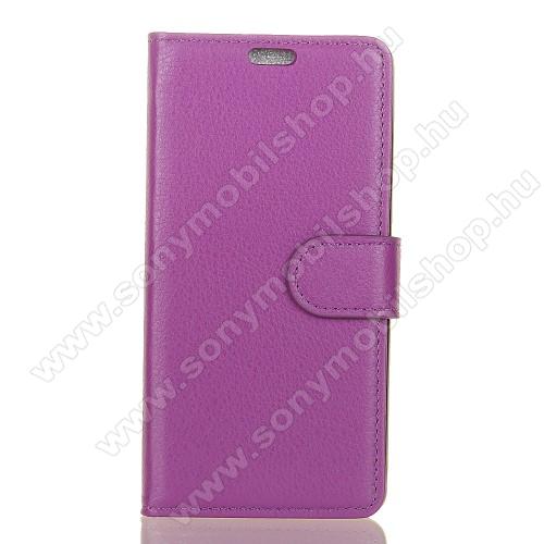 WALLET notesz tok / flip tok - LILA - asztali tartó funkciós, oldalra nyíló, rejtett mágneses záródás, bankkártyatartó zseb, szilikon belső - Sony Xperia XZ1
