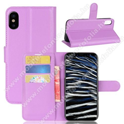 WALLET notesz tok / flip tok - LILA - asztali tartó funkciós, oldalra nyíló, rejtett mágneses záródás, bankkártyatartó zseb, szilikon belső - APPLE iPhone X / APPLE iPhone XS