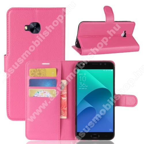 WALLET notesz tok / flip tok - MAGENTA - asztali tartó funkciós, oldalra nyíló, rejtett mágneses záródás, bankkártyatartó zseb, szilikon belső - ASUS Zenfone 4 Selfie Pro (ZD552KL)