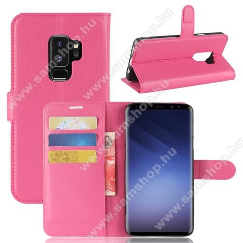 WALLET notesz tok / flip tok - MAGENTA - asztali tartó funkciós, oldalra nyíló, rejtett mágneses záródás, bankkártyatartó zseb, szilikon belső - SAMSUNG SM-G965 Galaxy S9+