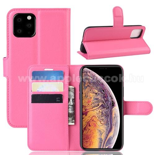 WALLET notesz tok / flip tok - MAGENTA - asztali tartó funkciós, oldalra nyíló, rejtett mágneses záródás, bankkártyatartó zseb, szilikon belső - APPLE iPhone 11 Pro Max