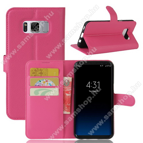WALLET notesz tok / flip tok - MAGENTA - asztali tartó funkciós, oldalra nyíló, rejtett mágneses záródás, bankkártyatartó zseb, szilikon belső - SAMSUNG SM-G950 Galaxy S8