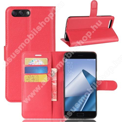 WALLET notesz tok / flip tok - PIROS - asztali tartó funkciós, oldalra nyíló, rejtett mágneses záródás, bankkártyatartó zseb, szilikon belső - ASUS Zenfone 4 (ZE554KL)