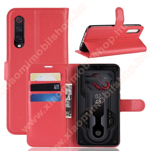 Wallet notesz tok / flip tok - PIROS - asztali tartó funkciós, oldalra nyíló, rejtett mágneses záródás, bankkártyatartó zseb, szilikon belső - Xiaomi Mi 9 / Xiaomi Mi 9 Explorer