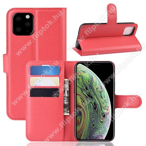 WALLET notesz tok / flip tok - PIROS - asztali tartó funkciós, oldalra nyíló, rejtett mágneses záródás, bankkártyatartó zseb, szilikon belső - APPLE iPhone 11 Pro