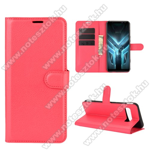 WALLET notesz tok / flip tok - PIROS - asztali tartó funkciós, oldalra nyíló, rejtett mágneses záródás, bankkártyatartó zseb, szilikon belső - ASUS ROG Phone 3 (ZS661KS) / ASUS ROG Phone 3 Strix