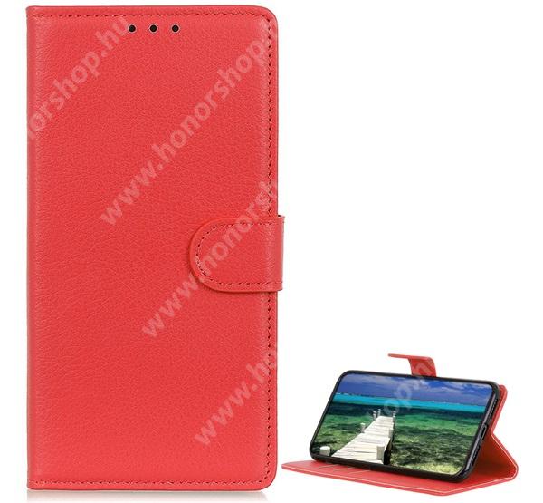 WALLET notesz tok / flip tok - PIROS - asztali tartó funkciós, oldalra nyíló, rejtett mágneses záródás, bankkártyatartó zseb, szilikon belső - SAMSUNG Galaxy A22 4G (SM-A225F)