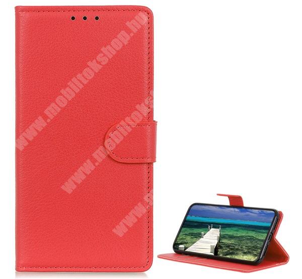 WALLET notesz tok / flip tok - PIROS - asztali tartó funkciós, oldalra nyíló, rejtett mágneses záródás, bankkártyatartó zseb, szilikon belső - SAMSUNG Galaxy A22 5G (SM-A226)