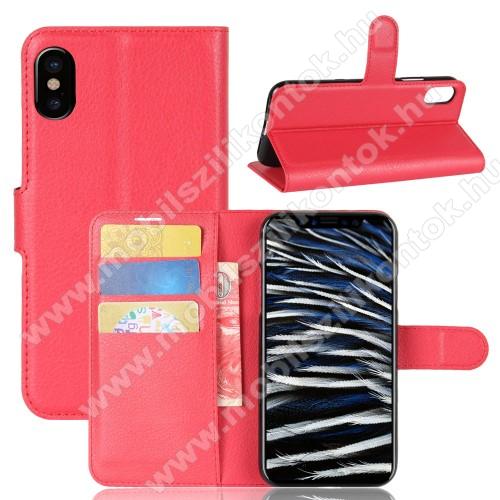 WALLET notesz tok / flip tok - PIROS - asztali tartó funkciós, oldalra nyíló, rejtett mágneses záródás, bankkártyatartó zseb, szilikon belső - APPLE iPhone X / APPLE iPhone XS