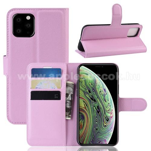WALLET notesz tok / flip tok - RÓZSASZÍN - asztali tartó funkciós, oldalra nyíló, rejtett mágneses záródás, bankkártyatartó zseb, szilikon belső - APPLE iPhone 11 Pro