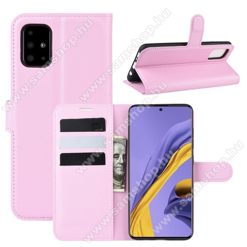 WALLET notesz tok / flip tok - RÓZSASZÍN - asztali tartó funkciós, oldalra nyíló, rejtett mágneses záródás, bankkártyatartó zseb, szilikon belső - SAMSUNG Galaxy A51 (SM-A515F)