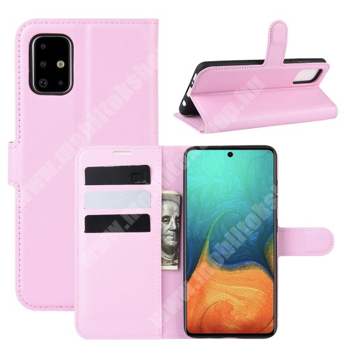 WALLET notesz tok / flip tok - RÓZSASZÍN - asztali tartó funkciós, oldalra nyíló, rejtett mágneses záródás, bankkártyatartó zseb, szilikon belső - SAMSUNG Galaxy A71 (SM-A715F)