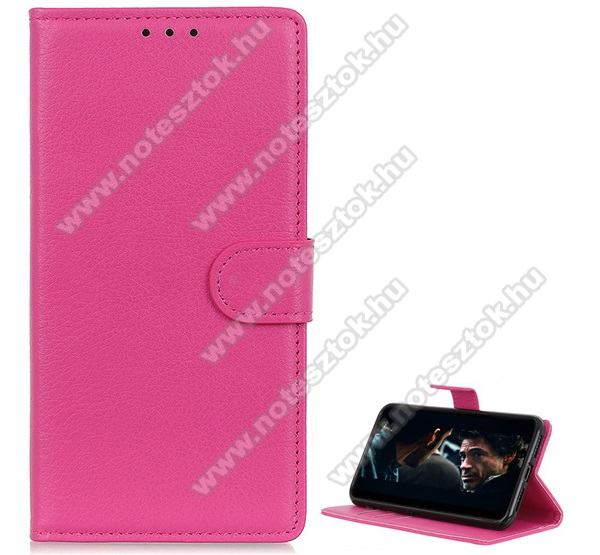 WALLET notesz tok / flip tok - RÓZSASZÍN - asztali tartó funkciós, oldalra nyíló, rejtett mágneses záródás, bankkártyatartó zseb, szilikon belső - SAMSUNG Galaxy Note10 Lite (SM-N770F)