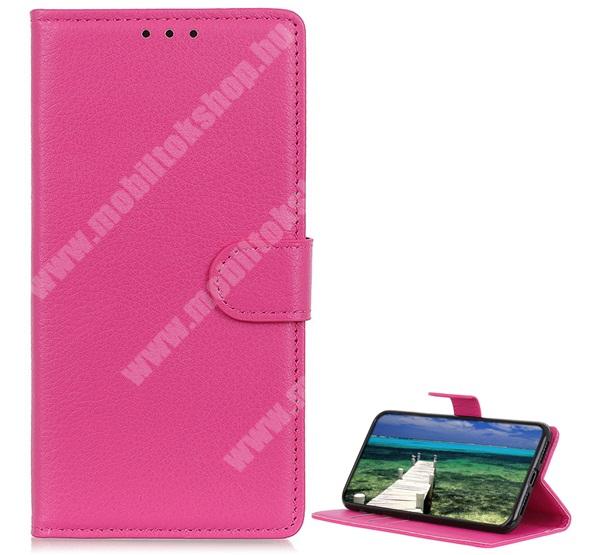 WALLET notesz tok / flip tok - RÓZSASZÍN - asztali tartó funkciós, oldalra nyíló, rejtett mágneses záródás, bankkártyatartó zseb, szilikon belső - SAMSUNG Galaxy A22 5G (SM-A226)