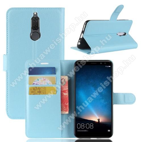 WALLET notesz tok / flip tok - VILÁGOSKÉK - asztali tartó funkciós, oldalra nyíló, rejtett mágneses záródás, bankkártyatartó zseb, szilikon belső - HUAWEI Mate 10 Lite / HUAWEI nova 2i / HUAWEI Honor 9i / HUAWEI Maimang 6