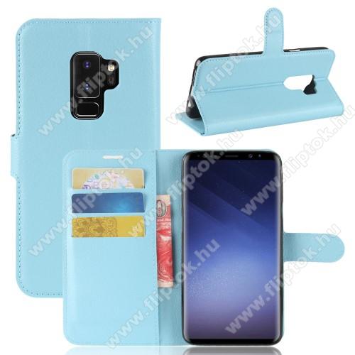WALLET notesz tok / flip tok - VILÁGOSKÉK - asztali tartó funkciós, oldalra nyíló, rejtett mágneses záródás, bankkártyatartó zseb, szilikon belső - SAMSUNG SM-G965 Galaxy S9+