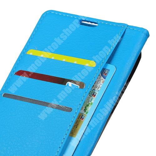 WALLET notesz tok / flip tok - VILÁGOSKÉK - asztali tartó funkciós, oldalra nyíló, rejtett mágneses záródás, bankkártyatartó zseb, szilikon belső - Xiaomi Mi 8 SE