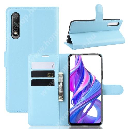 HUAWEI Honor 9X (For China market)WALLET notesz tok / flip tok - VILÁGOSKÉK - asztali tartó funkciós, oldalra nyíló, rejtett mágneses záródás, bankkártyatartó zseb, szilikon belső - HUAWEI P smart Pro (2019) / HUAWEI Y9s / Honor 9X (For China market) / Honor 9X Pro (For China)