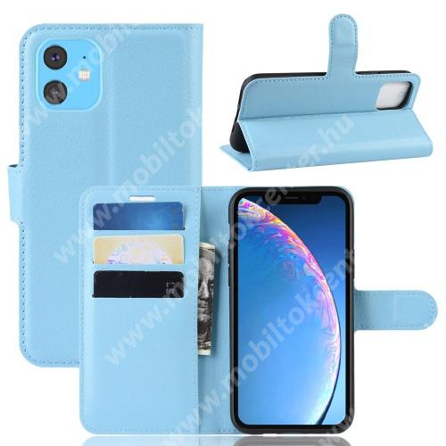 WALLET notesz tok / flip tok - VILÁGOSKÉK - asztali tartó funkciós, oldalra nyíló, rejtett mágneses záródás, bankkártyatartó zseb, szilikon belső - APPLE iPhone 11