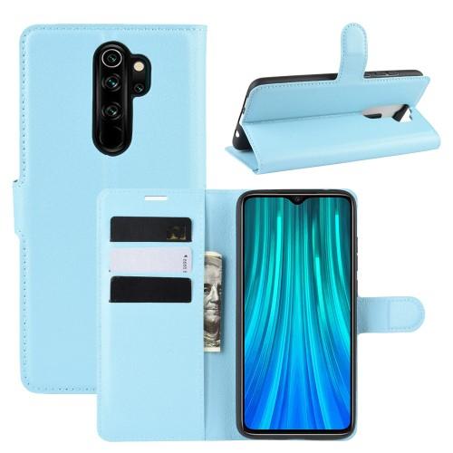 WALLET notesz tok / flip tok - VILÁGOSKÉK - asztali tartó funkciós, oldalra nyíló, rejtett mágneses záródás, bankkártyatartó zseb, szilikon belső - Xiaomi Redmi Note 8 Pro