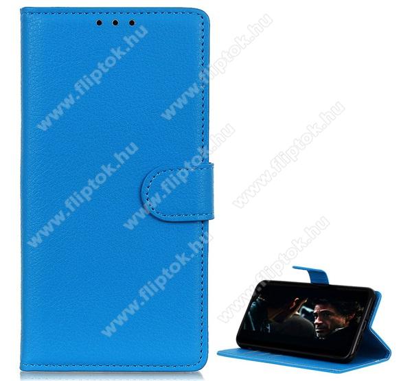 WALLET notesz tok / flip tok - VILÁGOSKÉK - asztali tartó funkciós, oldalra nyíló, rejtett mágneses záródás, bankkártyatartó zseb, szilikon belső - SAMSUNG SM-A515F Galaxy A51