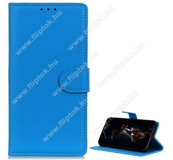 WALLET notesz tok / flip tok - VILÁGOSKÉK - asztali tartó funkciós, oldalra nyíló, rejtett mágneses záródás, bankkártyatartó zseb, szilikon belső - SAMSUNG SM-A715F Galaxy A71
