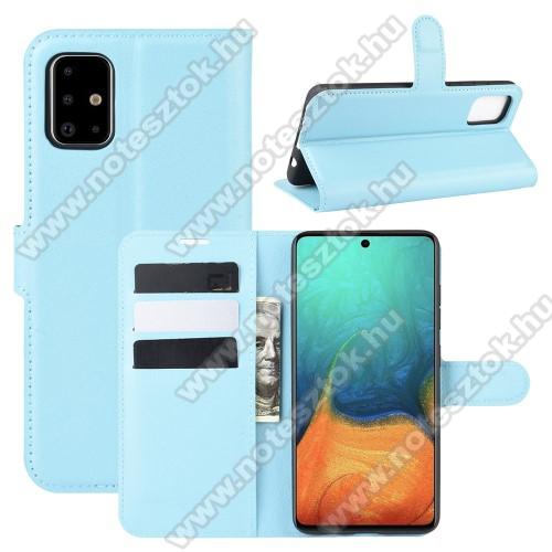 WALLET notesz tok / flip tok - VILÁGOSKÉK - asztali tartó funkciós, oldalra nyíló, rejtett mágneses záródás, bankkártyatartó zseb, szilikon belső - SAMSUNG Galaxy A71 (SM-A715F)