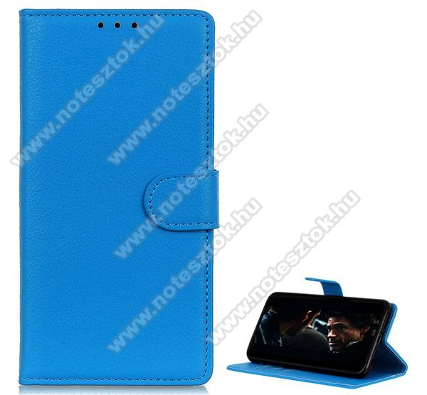 WALLET notesz tok / flip tok - VILÁGOSKÉK - asztali tartó funkciós, oldalra nyíló, rejtett mágneses záródás, bankkártyatartó zseb, szilikon belső - SAMSUNG Galaxy Note10 Lite (SM-N770F)